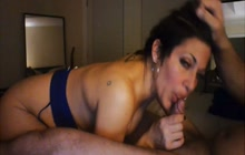 Dirty amateur brunette sucks a small dick dry