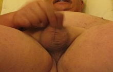Fat older dude stroking his micro dick