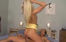 Even a small dick can please this blonde nympho