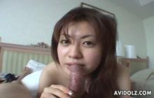 Japanese girl sucking a tiny dick