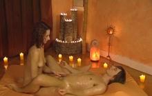 Oily dick massage